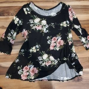 Floral knotted Tee